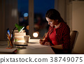 student girl with laptop and notebook at home 38749075
