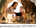 family, tablet, tent 38749975