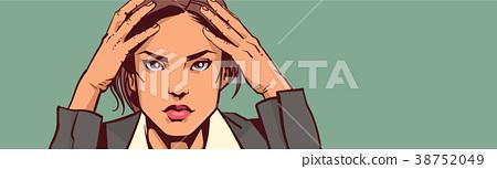 Depressed Business Woman Portrait Closeup 38752049
