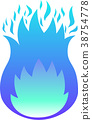 Blazing blue flame gradation 38754778