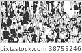 Illustration of large crowd in balck and white 38755246