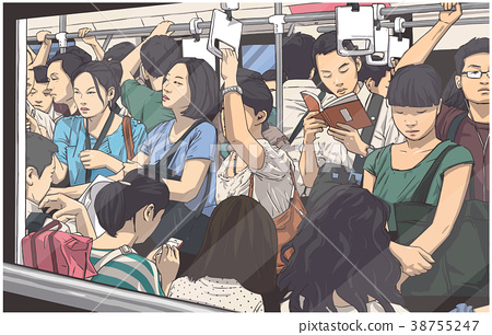 Illustration of people in subway cart in rush hour 38755247