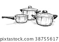 Vector Hand Drawing of Set of Cooking Pots 38755617