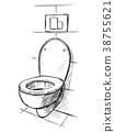 Vector Hand Drawing of Toilet Bowl in Bathroom 38755621
