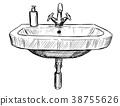 Vector Hand Drawing of Sink in Bathroom 38755626
