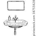 Vector Hand Drawing of Sink and Mirror in Bathroom 38755628