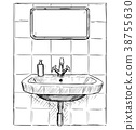 Vector Hand Drawing of Sink and Mirror in Bathroom 38755630