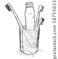 Vector Hand Drawing of Toothbrushes and Toothpaste 38755633
