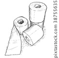 Vector Hand Drawing of Rolls of Toilet Paper 38755635