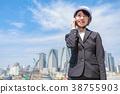 여성, 전화, 공사 현장 38755903