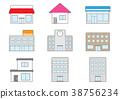 건물, 아이콘, 세트 38756234