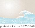 밝은 색상의 파도 일본식 문양 38756840