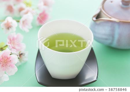 茶和櫻花的春天圖像 38758846