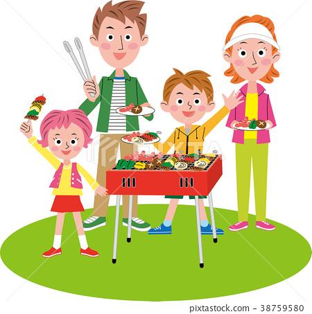 바베큐를 즐기는 가족 38759580
