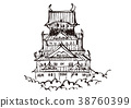 Osaka castle watercolor painting 38760399