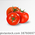 Group of three realistic tomatoes isolated on a 38760697