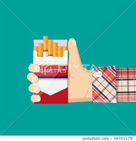 Open pack of cigarettes in hand man. 38761178