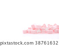 Pink Heart marshmallow isolated in white  38761632