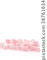 Pink Heart marshmallow isolated in white 38761634
