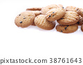 Chocolate chip cookie isolated in white background 38761643