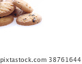 Chocolate chip cookie isolated in white background 38761644