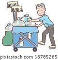 在清洁车上工作的高级人员 38765265