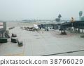 jet flight docked in Hong Kong Airport. 38766029