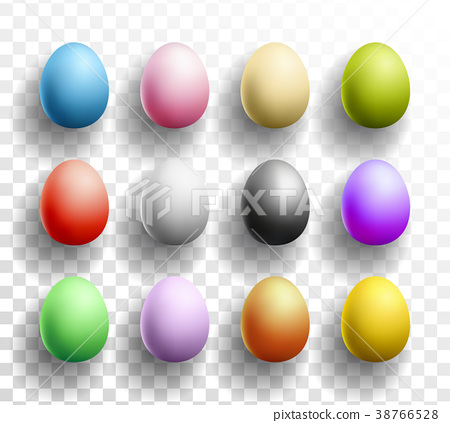 Happy Easter colored Eggs set with shadows on 38766528