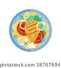 Fried chicken leg on platter with garnish vector 38767694