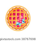 Fresh cranberry pie on a plate vector Illustration 38767698