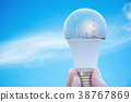 Hand of person holding light bulb for idea  38767869