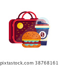 Lunch bag with hamburger and cup of coffee 38768161