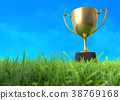 Golden trophy cup on the Field. 38769168