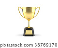Golden trophy cup on white background. 38769170