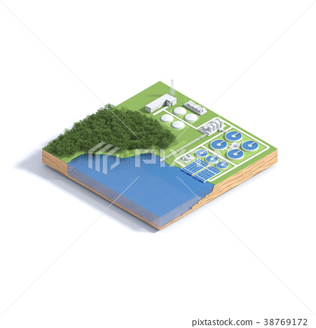 Isometric view Wastewater treatment plant concept. 38769172