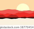 Hot desert landscape with a mountain silhouette 38770454