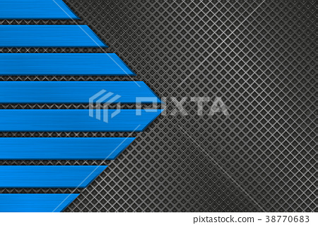 Metal perforated background with blue stripes 38770683
