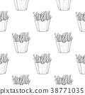 French fries as seamless pattern. Black and white 38771035