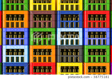 Background from colored plastic crates 38775181
