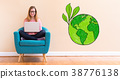 Green Earth with young woman using her laptop 38776138