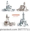 Lighthouse and sea. Marine sketch, nautical 38777711