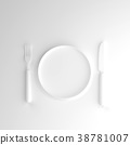 Fork with knife and plate white color mock-up 38781007