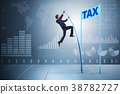Businessman jumping over tax in tax evasion 38782727