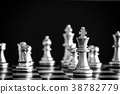 The King in battle chess game stand on chessboard 38782779