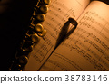 flute on an ancient music score background 38783146