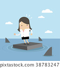 Businesswoman standing on briefcase In the sea. 38783247