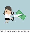 Businesswoman holding scissors and cutting dollar. 38783394