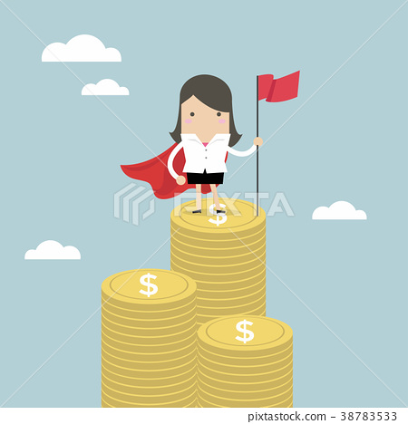 Businesswoman with winners flag standing on money. 38783533