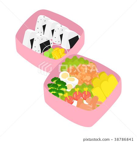 充分午餐盒的例证饭团和配菜。 38786841