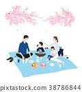 일본의 봄. 벚꽃의 계절에 벚꽃 놀이하면서 도시락 먹고있는 가족의 일러스트. 38786844